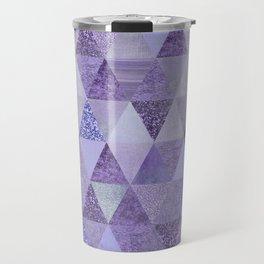 Glamorous Purple Faux Glitter And Foil Triangles Travel Mug