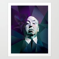 hitchcock Art Prints featuring HITCHCOCK by mobokeh