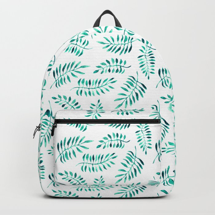Emerald leaves || watercolor Backpack
