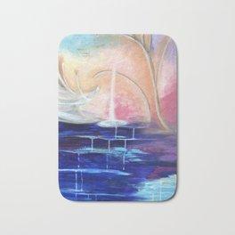 Flourescent Waterfall Painting. Waterfall, Abstract, Blue, Pink. Water. Jodilynpaintings. Bath Mat