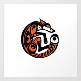Fomline fox - circular coloured Art Print