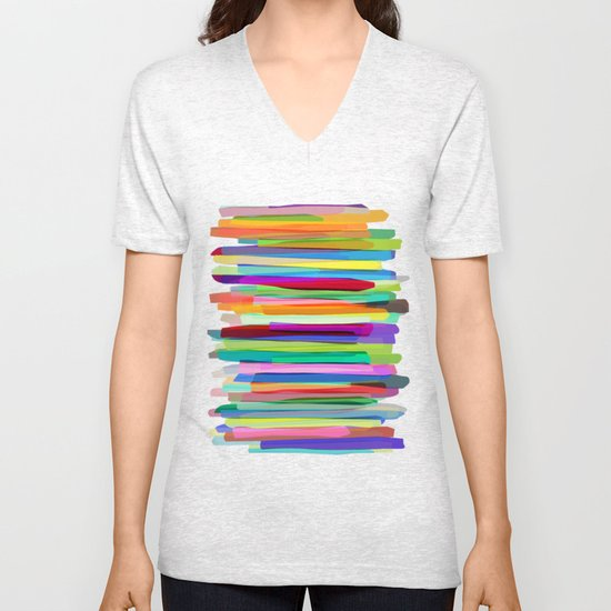 Colorful Stripes 1 Unisex V-Neck