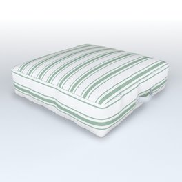 Moss Green and White Mattress Ticking Wide Striped Pattern Outdoor Floor Cushion
