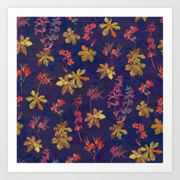 Blue Geraniums Art Print