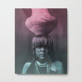 GIRL AND JAR SAN ILDEFONSO NATIVE AMERICAN Metal Print