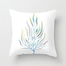 Seaweed Watercolor Illustration Throw Pillow