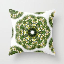 Little White Wildflower Kaleidoscope Art 2 Throw Pillow