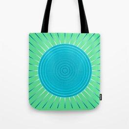 Modern Geometric Sunburst, Blue and Jade Green Tote Bag