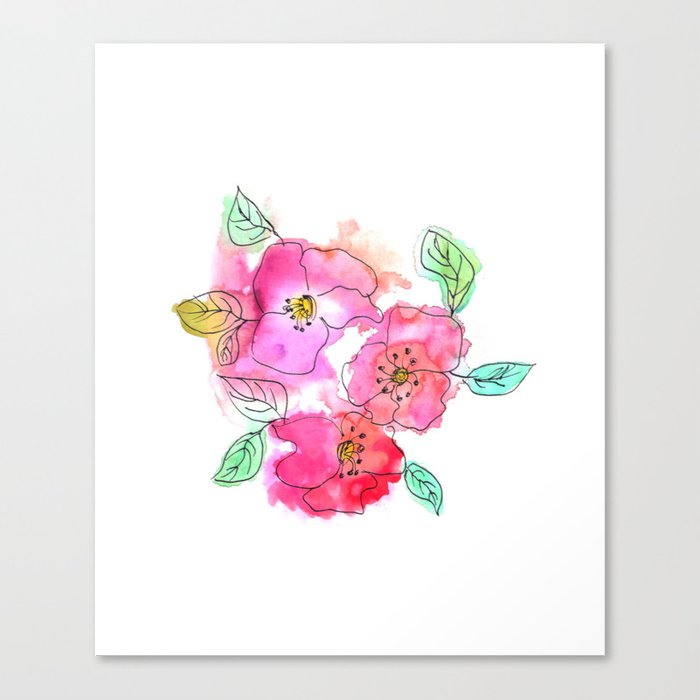 Pink Watercolor Flowers // Floral Feelings Canvas Print