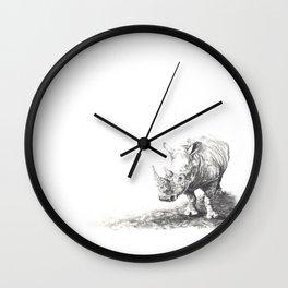Rhino in Charcoal Wall Clock