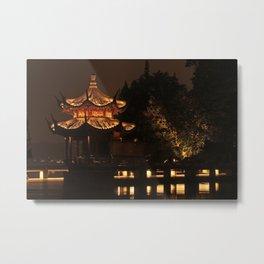 Chinese Pagoda on Lake Metal Print