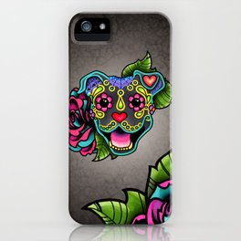 Smiling Pit Bull in Blue - Day of the Dead Pitbull Sugar Skull iPhone Case