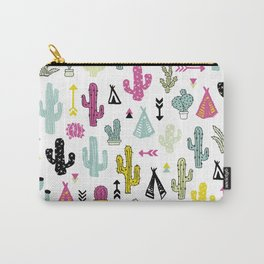 Cacti and teepee indian summer colorful boho cactus mix Carry-All Pouch