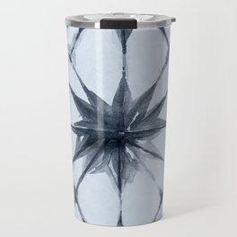 Shibori Starburst Indigo Blue on Sky Blue Travel Mug