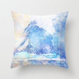 Blue Ice Mountains :: Fine Art Collage Throw Pillow