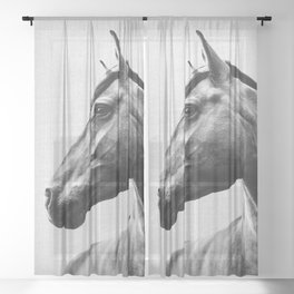 Horses - Black & White 2 Sheer Curtain