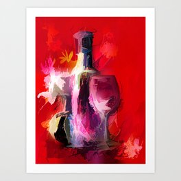 Fun Colorful Modern Wine Art (wine bottle & glasses) #society6 #wine Art Print