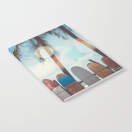 Surf Life Tropical Coastal Landscape Surfboard Scene Notebook