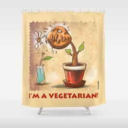 vegetarian plant cartoon style with text Shower Curtain