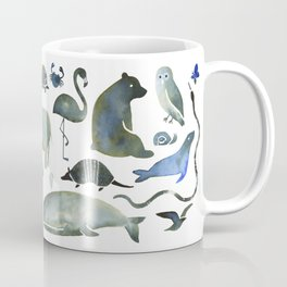 Animals in Black (and blue) Coffee Mug