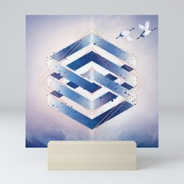Indigo Hexagon :: Floating Geometry Mini Art Print