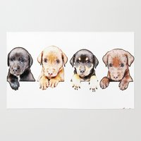 puppies Area & Throw Rugs featuring cachorros ( puppies  ) by arnedayan