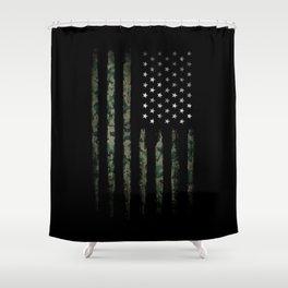 Khaki american flag Shower Curtain