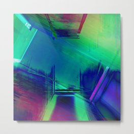 Blue Glitch - No Way Out Abstract Painting Metal Print