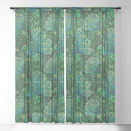 Peacocks in Emerald Forest Sheer Curtain