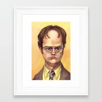 dwight schrute Framed Art Prints featuring Mr. Dwight K Schrute by Ben Anderson