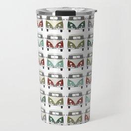 happy camper – A colourful montage pattern of vintage camper vans Travel Mug
