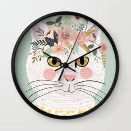 White flowers with floral crown Wall Clock