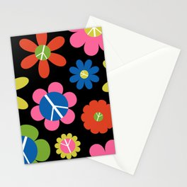 Peace, Love, + Daisies in Black Stationery Cards