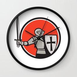 Knight Wielding Sword Circle Cartoon Wall Clock