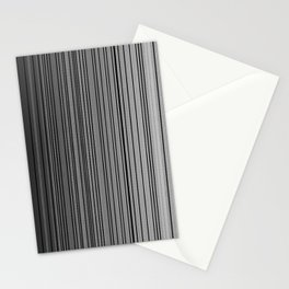 Sleek Gray Toned Stripes and Silvery Moon Stationery Cards