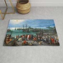 """Jan Brueghel the Elder """"Harbor Scene with St. Paul's Departure from Caesarea"""" Rug"""