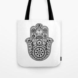 Black and White Hamsa Hand Tote Bag