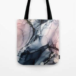 Blush, Navy and Gray Abstract Calm Clouds Tote Bag