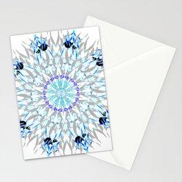 ice flake winter mandala Stationery Cards