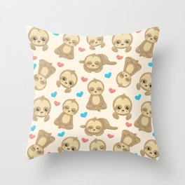 Sloth Pattern, Lazy Sloths, Slow Sloths, Hearts Throw Pillow