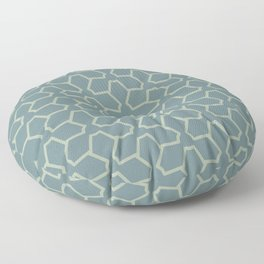 Blue-Green Green Line Pattern 12 Abstract Flower 2021 Color of the Year Aegean Teal Salisbury Green Floor Pillow