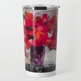 Red, Red Abstract Flowers Contemporary Travel Mug