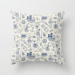 Pirate Play - Cream Throw Pillow