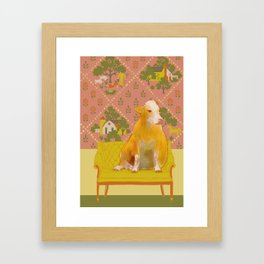 Farm Animals in Chairs #1 Cow Framed Art Print