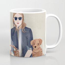 Lady In A Blue Blazer With A Puppy Coffee Mug