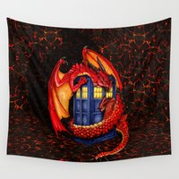 smaug Wall Tapestries featuring Red Dragon Wyvern Smaug with Blue Phone booth iPhone 4 4s 5 5c 6, pillow case, mugs and tshirt by Three Second
