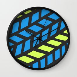 Lingering Lines Blue and Yellow Wall Clock