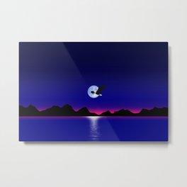 Moon Eagle on Magenta Horizon Metal Print