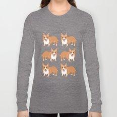 Happy Corgi Pattern Long Sleeve T-shirt