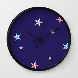 Patchwork Stars Wall Clock